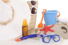 Beach bag with toys and sunglasses Royalty Free Stock Images