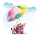 Beach bag with an umbrella and a dog.  vector illustration