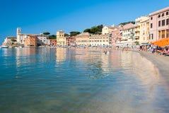 The beach of the Baia del Silenzio in Sestri Levante during the summer Stock Photo