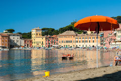 The beach of the Baia del Silenzio in Sestri Levante during the summer Stock Image