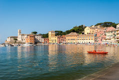 The beach of the `Baia del Silenzio` in Sestri Levante during the summer Royalty Free Stock Photography