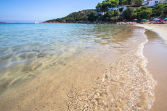 The beach at Baja Sardinia in Sardinia, italy. Beautiful beach at Baja Sardinia in Sardinia, italy Stock Image