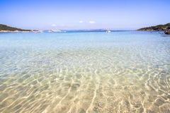 The beach at Baja Sardinia in Sardinia, italy. Beautiful beach at Baja Sardinia in Sardinia, italy Royalty Free Stock Photography