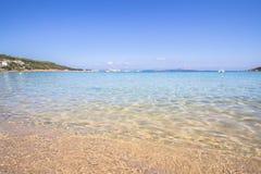 The beach at Baja Sardinia in Sardinia, Italy. Beautiful beach at Baja Sardinia in Sardinia, Italy Royalty Free Stock Images