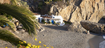 Beach by the Balcon de Europa at the Spanish resort of Nerja on the Costa del Sol Stock Photo