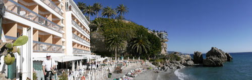 Beach by the Balcon de Europa at the Spanish resort of Nerja on the Costa del Sol Stock Photos