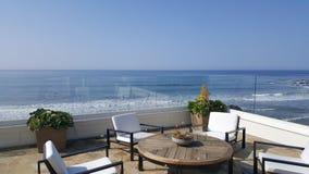 Beach balcony view. Pacific ocean malibu sea water waves sky white royalty free stock photography