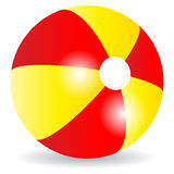 Beach ball. Red and yellow striped beach ball on white background Royalty Free Stock Images