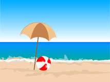 Beach ball. Illustration of beach ball on sea background Royalty Free Stock Images