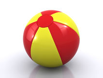 Beach ball. Yellow and red beach ball with reflection (3d render&#x29 Stock Photos