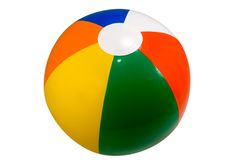 Beach Ball. Brightly colored beach ball isolated against a white background Stock Image