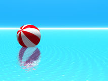 Beach ball on blue sea. 3d illustration of red and white beach ball floating on calm blue sea Royalty Free Stock Photo