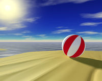 Beach ball. 3d rendered beach ball. Coastline travel concept Stock Photography