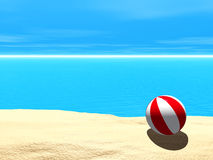 Beach Ball. 3D on a calm sea Royalty Free Stock Image
