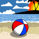 Beach ball on the beach Royalty Free Stock Images