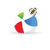 Beach ball with bee color vector Royalty Free Stock Photos