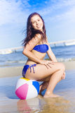 Beach Ball Bikini Babe Stock Photos