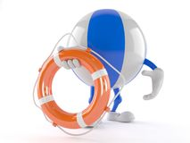 Beach ball character holding life buoy. On white background Royalty Free Stock Images