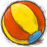 Beach ball. Color beach ball. Red, yellow and blue. Vector illustration Royalty Free Stock Photography