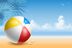 Beach Ball. Colorful Beach Ball On The Seaside At Sunny Day. Bright And Glossy Ball For Fun At The Beach. Vector Illustration Stock Photography