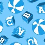 Beach ball d'annata e blocchetti di ABC illustrazione di stock