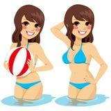 Beach ball dell'acqua della donna Fotografia Stock Libera da Diritti