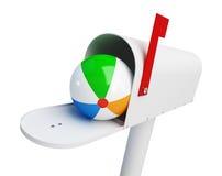 Beach ball della cassetta delle lettere su un'illustrazione bianca del fondo 3D Fotografia Stock