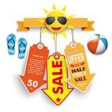 Beach ball di flip-flop degli autoadesivi di prezzo di vendita di estate Immagine Stock Libera da Diritti