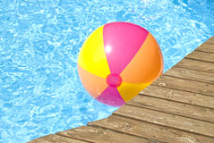 Beach Ball Floating in the Pool Royalty Free Stock Photo