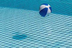 Beach ball floating in the pool