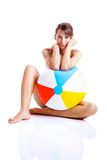 Beach ball girl Royalty Free Stock Photo