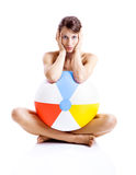 Beach ball girl Royalty Free Stock Photos