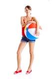 Beach ball girl royalty free stock photos