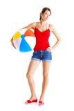 Beach ball girl stock photo