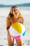 Beach ball girl Stock Photo