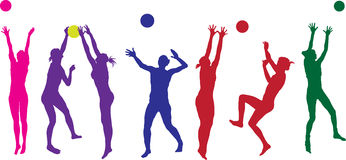 Beach ball girls Stock Images