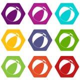 Beach ball icon set color hexahedron. Beach ball icon set many color hexahedron isolated on white vector illustration Royalty Free Stock Photo