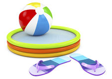 Beach ball, infatable pool with flip flops on white background Stock Photography