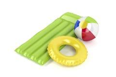 Beach ball, mattress and swim ring. Pool raft, beach ball and swim ring on white background Stock Photo