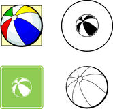 Beach ball mixed set. Mixed set with icon, sign, color and black and white illustration of a beach ball Royalty Free Stock Photography