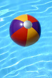 Beach Ball in Pool. Multicolored beach ball in swimking pool Stock Photo