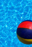 Beach ball and pool. A colourful beach ball floating in a swimming pool Royalty Free Stock Photos
