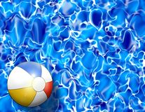 Beach Ball In Pool Water Illustration. Abstract of a beach ball floating in reflective deep blue pool water royalty free illustration
