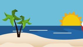 Beach ball rolling on island HD definition royalty free illustration