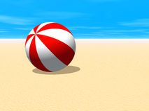 Red and white beach ball. 3D illustration of a red and white beach ball on the sand of a seaside beach Stock Photo