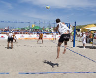 Beach ball serve Stock Images