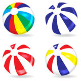 Beach ball set. Different colors beach balls on white background vector illustration