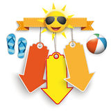 Beach ball sorridente di flip-flop delle frecce dell'autoadesivo di prezzi di Sun 3 Fotografia Stock