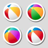 Beach ball stickers set Stock Photography