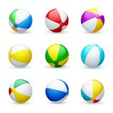 Beach ball striped rubber toy, realistic set stock photo